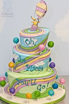 K I am not talented enough to make this cake but the colors from the book would make a great theme for the party! Pretty Cakes, Cute Cakes, Beautiful Cakes, Amazing Cakes, Dr Seuss Cake, Dr Suess, Torta Angel, Cake Wrecks, Cake Blog