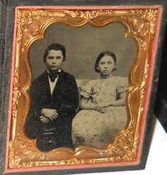 Antique 1850`s 1 6th Plate Ambrotype Photo of Brother and Sister | eBay