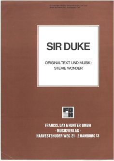 SIR DUKE - STEVIE WONDER - SOUL - 1976 - MUSIKNOTE | eBay