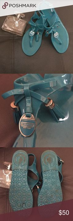Coach Helma Turquoise Jelly Sandals with Tassels Coach Helma Turquoise Jelly Sandals with Tassels; perfect condition, only slight visible wear is to the sole; no visible wear to top of shoe; very comfy!!! Coach Shoes Sandals