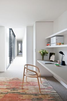 A small home office is included in the upstairs hallway of this home in Australia.
