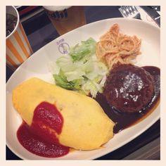 [お台場⑦*2012/04/21]     オムライス&粗挽きハンバーグステーキ  ¥1350 (オープン記念¥100引き)       @洋食や 三代目 たいめいけん (Diver City Tokyo Plaza)