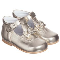 Children's Classics - Girls Gold Leather Shoes with Bow | Childrensalon