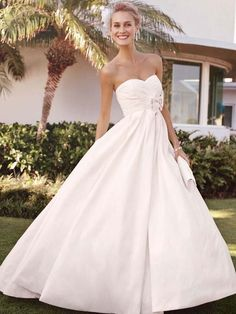 Modern Modest Romantic Ivory White $ - $700 and under Ball Gown Beading David's Bridal Empire Floor Ruching Shantung Sleeveless Strapless Sweetheart Taffeta Wedding Dresses Photos & Pictures - WeddingWire.com