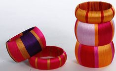 Silk thread wrapped bangles