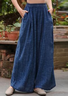 Vintage Blue Elastic Waist Wide Leg Pants Cotton Linen Women Long Pants Cotton Pants, Linen Pants, Cotton Dresses, Fashion Pants, Fashion Outfits, Elastic Waist Pants, Comfortable Fashion, Cotton Linen, Linen Fabric