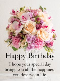 Birthday & Greeting Cards by Davia - Free eCards via Email ... - happy birthday flower bouquet pictures