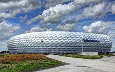 Download wallpapers 4k, Allianz Arena, football stadium, Bavaria Munich, sports arena, modern architecture, Munich, Germany