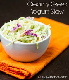 Creamy Greek Yogurt Slaw. On program sub the honey for a packet of zero calorie sweetener, or just leave it out for a tangier slaw. Yum!