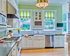 Cheery Green Kitchen Design Ideas Rilane We Aspire To Inspire Light Green Kitchen, Green Kitchen Walls, Kitchen Wall Tiles, Green Walls, Kitchen Interior, Interior Modern, Kitchen Decor, Kitchen Tv, Happy Kitchen