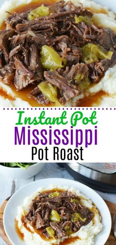 Instant Pot Mississippi Pot Roast is unbelievably packed with flavor. This classic beef roast is made with au jus, ranch and beef stock for a fall off the bone tender recipe that you are going to love. The best part? Using your pressure cooker, you get it Pot Roast Recipes, Top Recipes, Beef Recipes, Cooking Recipes, Healthy Recipes, Chicken Recipes, Beef Meals, Cooking Ideas, Chuck Roast Recipes