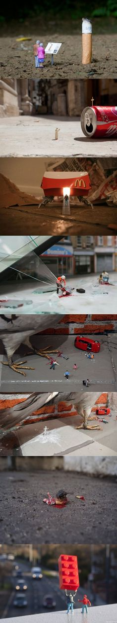 Little people - win the picture. Staged photos with small objects, the gr - Kleine kunst - Miniature Photography, Toys Photography, Photography Ideas, People Photography, Famous Photography, Newborn Photography, Photo Macro, Street Art, Fotografia Macro