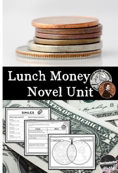Lunch Money Novel Unit for Andrew Clement's book Perfect book for integrating money lessons and economics while you teach literature!