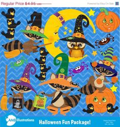 80% OFF Halloween clipart Halloween raccoons by AMBillustrations