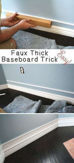 Home Improvement Hacks. - Easy Faux Thick Baseboard Trick - Remodeling Ideas and DIY Home Improvement Made Easy With the Clever, Easy Renovation Ideas. Kitchen, Bathroom, Garage. Walls, Floors, Baseboards,Tile, Ceilings, Wood and Trim. http://diyjoy.com/home-improvement-hacks #ad