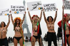 Allah has created me naked!    Topless protest in #Paris #Franceas an expression of support to Muslim #women against the barbarism of the sharia