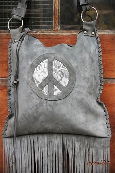 Peace symbol leather grey suede festival hippi  pixie by Caramelka, $99.00