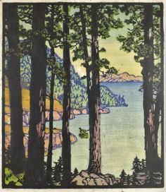 """Woodblock Print, Frances Gearhart. """"Untroubled Waters"""" 10.5 x 9"""", ca 1933. Private collection Bruce Hinckley."""