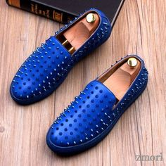 Blue Royal Metal Spikes Studs Punk Rock Loafers Sneakers Mens Shoes Mens Dress Loafers, Loafers Outfit, Loafer Sneakers, Loafers Men, Flat Dress Shoes, Men's Shoes, Shoe Boots, Mens Grey Shoes, Royal Blue Shoes