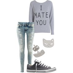 different earrings and a darker wash on the jeans, the sweatshirt is perfect tho:)