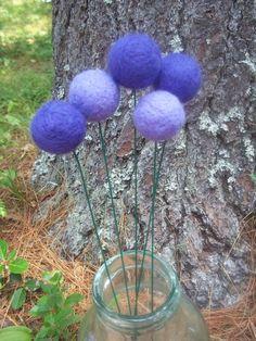 Purple Lavender Felted Pom Pom Flowers by TwiceNicePurses on Etsy, $15.00 #pcfteam