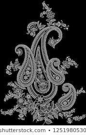 Black and White Paisley Design Paisley Tattoo Design, Paisley Art, Paisley Pattern, Kashida Embroidery, Gold Embroidery, Hand Embroidery Designs, Textile Prints, Textiles, Textile Design