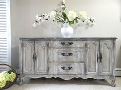 SOLD - Vintage Hand Painted French Provincial Cottage Chic Shabby Distressed Grey Buffet / Console Cabinet
