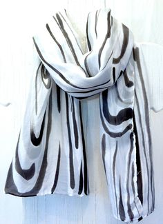 Hand Painted Silk Scarf. Black and White Silk Scarf. Zen Tranquility Scarf. Silk Scarves Takuyo. Approx 10x54 in. 100% Silk. made to Order.. $44.00, via Etsy.