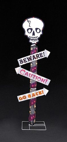 "48"""" Skull 3-Post Sign Gel Lighted Halloween Yard Art"