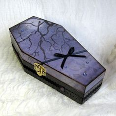 Halloween Coffin Box Decoupaged Coffin Goth Gothic Spooky Tree Night Sky Purple Decorated Crystal Halloween Trinket Jewelry Keepsake Box by rrizzart on Etsy