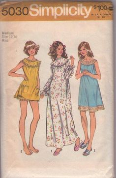 Simplicity 5030 Vintage 70's Sewing Pattern Lace Yoke, Lacy Hem Shortie Babydoll Pajamas Set, Bloomers Panties, Nightgown, Long Gown