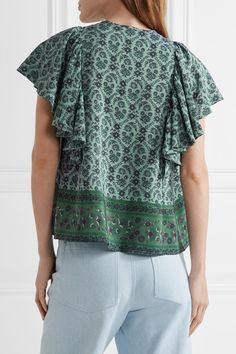 SEA - Ruffled Printed Silk Blouse - Forest green - US