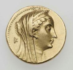 Gold oktadrachm of the Kingdom of Egypt with head of Arsinoe II, struck under Ptolemy II (obverse). Greek. Hellenistic Period. 261 B.C. | Museum of Fine Arts, Boston