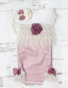 One of a Kind - Limited Edition - newborn romper in a dusty move romper with cream ruffles - good stretch for older babies includes headband by SoTweetDesigns