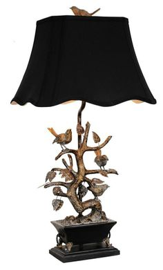 Brass Bird Table Lamp, Oriental Gold, Scalloped Shade Black, 32in, Couture
