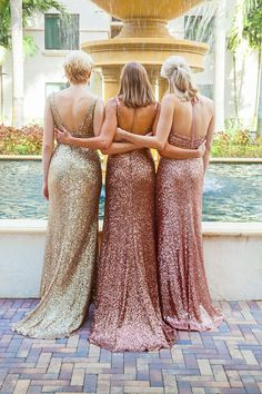 Sequin bridesmaid dresses from the Sapphire by Alfred Angelo Collection / http://www.deerpearlflowers.com/2015-wedding-trends-sequined-metallic-bridesmaid-dresses/