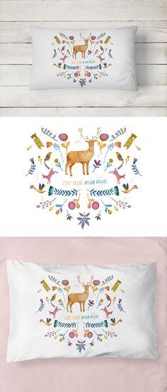 Pillowcase - Dream Bright Pillowcase. 100% Cotton. Perfect children's Christmas gift this holiday season.