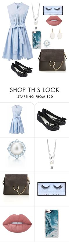 """Untitled #317"" by catarina-de-sousa-lopes on Polyvore featuring Chicwish, Melissa, Tiffany & Co., Chloé, Huda Beauty, Lime Crime and Casetify"