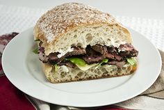 Peppered Beef Sandwich with Havarti, Arugula, and Caper Onion Mayonnaise