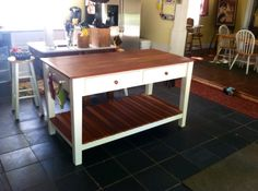 a converted 1917 dresser to a kitchen prep table things i made