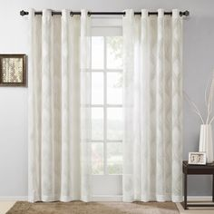 "Madison Park Elin Sheer Ogee Jacquard Curtain Panel, Ivory, 50""W x 95""L - $39.99"