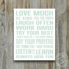 Family Rules Poster Art Quote Inspirational Print Playroom Typography Nursery Art Custom Girls or Boys on Etsy, $18.50