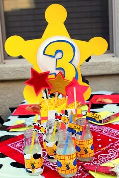 Toy Story WOODY BADGE centerpieces - Woody - Buzz Lightyear - Boy Birthday Party- Jesse - Girl Party on Etsy, $25.00