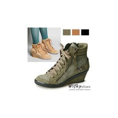 Zip-Accent Wedge Sneakers (130 NZD) found on Polyvore