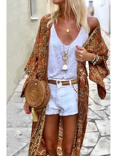 Women's Bohemian Bracelet Sleeve Sun-Protective Cardigan Style Outfits, Mode Outfits, Casual Outfits, Fashion Outfits, Womens Fashion, Fashion Trends, Fashion Pants, Fashion Hoodies, Fashion Ideas