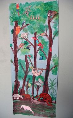Rainforest Mural - Let's Explore Rainforest Crafts, Rainforest Project, Rainforest Habitat, Rainforest Animals, Rainforest Classroom, Amazon Rainforest, Ecosystems Projects, Jungle Art, Kindergarten Art Projects