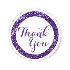 Trendy Glitter Thank You Stickers:Purple
