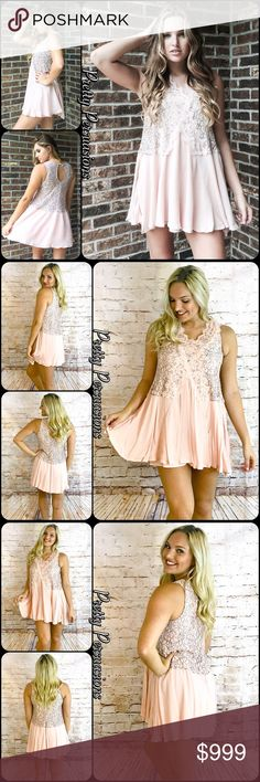"""NWT Blush Lace Secret Origins Mini Dress Tunic NWT Blush Lace Secret Origins Mini Dress Tunic  Available in sizes S, M, L Measurements taken from a size small  Length: 30"""" Bust: 34"""" Waist: 42""""  Rayon/Nylon  Features  • vintage romantic lace trim v-neckline  • lace upper  • sleeveless  • relaxed, flowy fit  * also available in white in a separate listing   Bundle discounts available  No pp or trades  Item # 1/206110490BLSOD  blush lace pink white black floral shift crochet Pretty Persuasions…"""