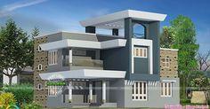 4 bedroom, 2111 square feet modern house architecture by Dileep Maniyeri, Calicut, Kerala.
