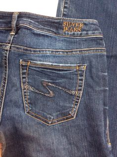 Silver Aiko Bootcut Jeans 28/33 Embroidered Pockets